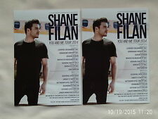 "SHANE FILAN/Westlife Live ""You and Me"" Tour UK 2014 Promo Tour flyers x 2"
