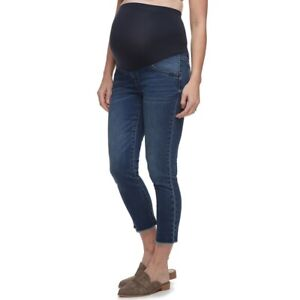 a glow Maternity Size 12 Womens Capri Crop Jeans Medium Full Belly Panel $50 NEW