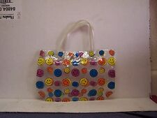 VINTAGE  SMILEY FACE  CARRY BAG SNAP CLOSURE MULTI COLORED NEW OLD STOCK