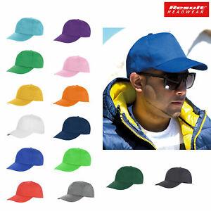 Plain Baseball Cap Result Headwear Unisex mens 5 panel Printer's hat RC080X