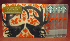 Lot of 5 Starbucks 2017 Black Stag Holiday Gift Cards New with Tags