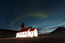 Aurora Borealis Above Rural Church with Red Roof in Vik Iceland Photo Art Print