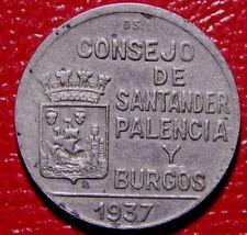 *Rare* Spanish Civ. War Santander Palencia y Burgos 2 PTAS 1937 ¡ Moneda Escasa!