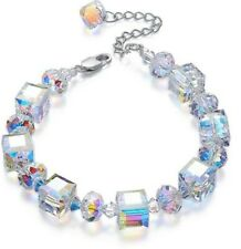 Mystic Blue Rainbow Topaz Gemstone Bracelet in 18K White Gold ITALY Stretch 7-9""