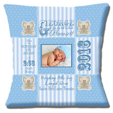 """PERSONALISED BIRTH BLUE Name Date Time Weight PHOTO 16"""" Pillow Cushion Cover"""