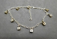 ANKLET, CUBE BEADS, SILVERTONE CABLE CHAIN, ADJUSTABLE - 7984