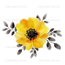Furniture Slide Decal Vintage Image Transfer Yellow Poppy Shabby Chic Antique