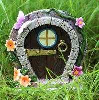 Garden Ornament Fairy Door Elf Pixie Hobbit Butterfly Flowers