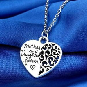 Mother Daughter Heart Necklace Pendant Silver Jewellery Gift