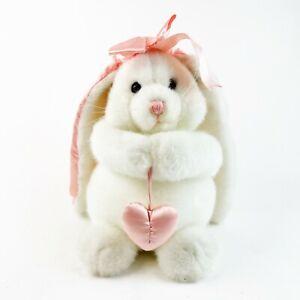 "Vintage DAKIN White Bunny Rabbit 1992 Stuffed Plush Easter Long Floppy Ears 11"""
