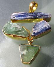 Gold plated 925 silver rough kyanite & fluorite 14gr pendant.