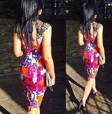 BNWT Lipsy Size 12 Floral Lace Halter Midi Pencil Dress £75 Multi Blogger Summer