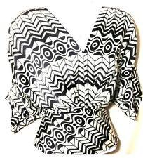 NWT $128 Cynthia Steffe Silk Black & White Blouse XS Side Zipper Office to Night
