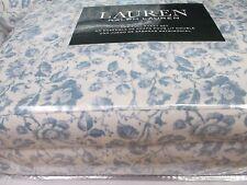 New Ralph Lauren Cotton 4pc Vintage Ivory Cream Blue Floral Sheet Set - Full