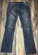 Woman's Lucky Brand Lola Straight Run Stitch Blue Denim Jeans 6 / 28 EUC