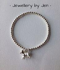 Bracciale argento placcato Carino Cane Charm Stretch fatto a mano. cane amanti regalo!