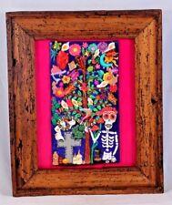 Wood Frame Ceramic Art Wall Sculpture Mexican Fine Folk Art Collectible Decor Lg