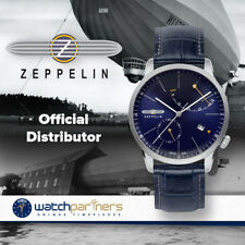 Zeppelin Flatline Automatic Watch Power reserve 40mm Clear back Blue Dial 7366-3