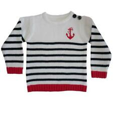 Powell Craft White & Blue Anchor Cotton Striped Nautical Jumper 2-3 yrs REDUCED
