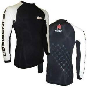 FAIRTEX-Long Sleeve Rash Guard Black White MMA Kick boxing Training