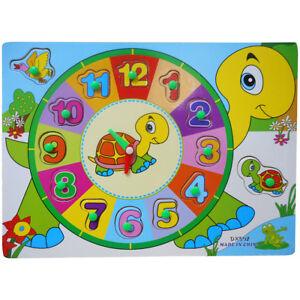 Kids Children Peg Wooden First Clock Teach Time Jigsaw Puzzle Toy NEW - (12206)