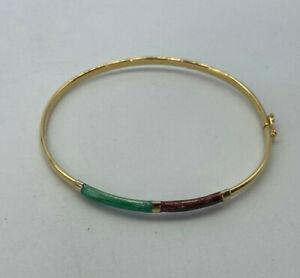 18ct Gold Ladies Enamelled Bangle Bracelet.  Goldmine Jewellers.