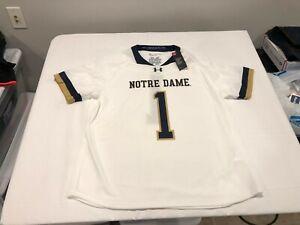 NWT $80.00 Under Armour Notre Dame Mens Lacrosse Replica Jersey #1 White Sz 2XL