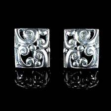 >>=> *BALI*__SILVER SWIRL FILIGREE RECTANGLE EARRINGS_POST__925 STERLING SILVER