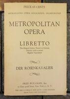 Metropolitan Opera Libretto Der Rosenkavalier Richard Strauss German English '43