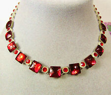 """Vintage Deco 1920s 1930s Camphor Glass Collet Red Stone 15"""" Dog Collar Necklace"""