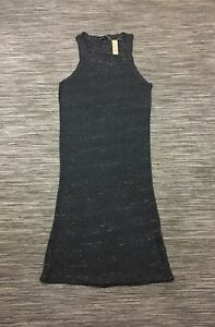 River Island Off Duty Sleevless Knitted Midi Dress In Dark Grey Metallic Size 14