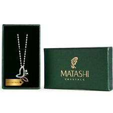 White Gold and Rose Gold Plated Butterfly Pendant Necklace by Matashi Crystals