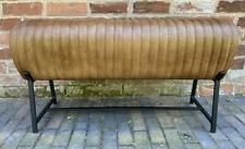 Brown Leather Bench - Black Metal Legs - Pommel Horse Style - Retro Vintage
