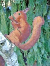 écureuil assis en fer forgé rouillé sur plaque grand modèle , nouveau !