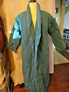 SCANDIA DOWN Long Goose Down Teal Quilted Robe with Shawl Collar SMALL NO BELT