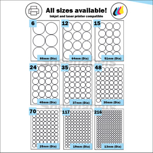 Round Recycled Matt White Paper A4 Sheeted for Laser/Inkjet Printer Labels