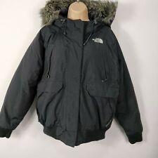 Para Mujer North Face Negro HyVent Goose Down Parka abrigo de piel sintética con capucha XL Extra Grande