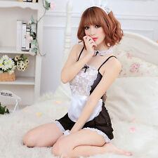 Sexy Lady lingerie Dress G-string Sleepwear Sheer Underwear Maid Uniform AU