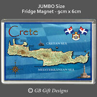 CRETE MAP - GREEK ISLAND - JUMBO  FRIDGE MAGNET - FLAG GREECE  Holiday Souvenir