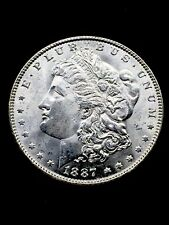1887 BLAST WHITE MAJOR LUSTER MOGAN SILVER DOLLAR BU!!!!!!