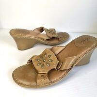 Colorado Size 8 Brown Leather Wedge Slides Studded Open Toe Comfort Tan Boho