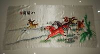 Antique Chinese Hand Embroidery Horses Silk Wall Hanging Tapestry/Panel 149X74cm
