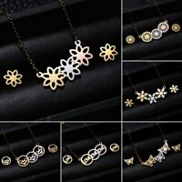 Stainless Steel 3 Color Jewelry Set Necklace Earrings Stud Flower Women Lady Hot