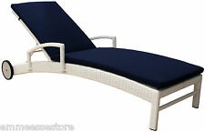 Lettino Simil Rattan Sole Relax Giardino Bianco Blu 205x55x77 cm mod. MAYA