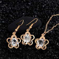 Wedding 18K Plated Austrian Crystal Flower Pendant Clavicle Necklace Earring Set