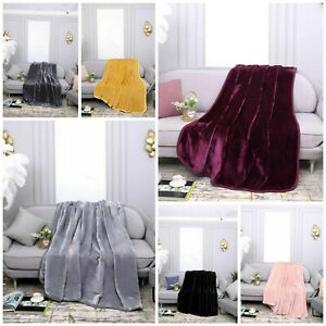 Cosy Fleece Blanket Winter Warm Faux Fur Mink Sofa Bed Throw Double & King Size
