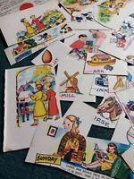 Ca9 Ephemera 1950s scraps x 25 children's pictures lot 3wgy