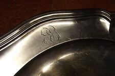 MILLET XIXème grand et beau plateau rond métal argenté rare Silver metal plate