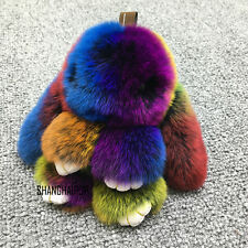 Cute Faux Fur Bunny Fluffy Rabbit Keyring Bag Pendant Keychain Furry Colorful