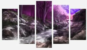 Pink Forest - Nature Woods Trees Painting Wall Art 5 Split Panel Canvas Picture